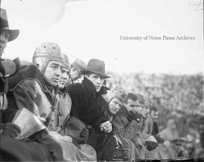 Image supplied by the Notre Dame Archives for matching purposes only. Shows Elmer Layden and players on the bench.